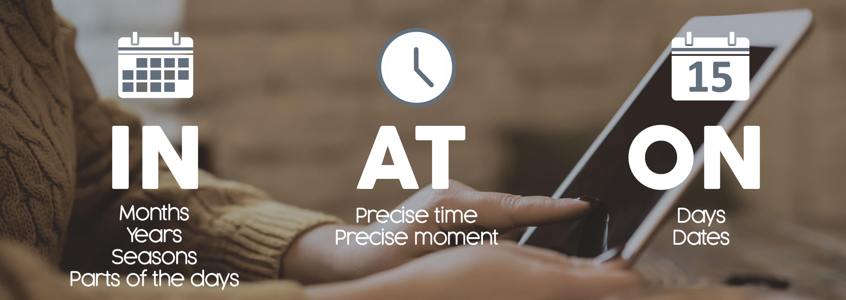 Frases de tiempo In, On, At / Coninglés